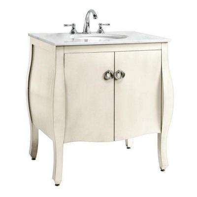 Savoy 31 in. W x 22 in. D Bath Vanity in Ivory with Marble Vanity Top in White with White Sink