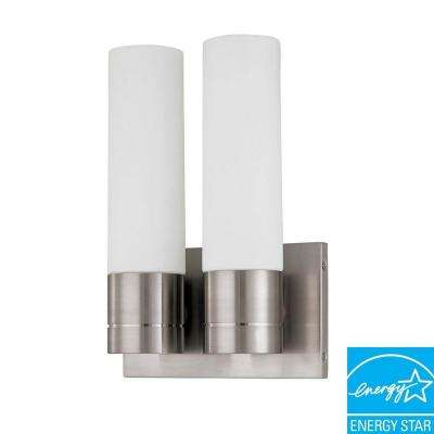 2-Light Brushed Nickel Fluorescent Sconce