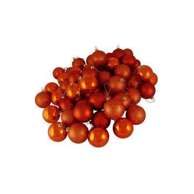 2.5 in. (60 mm) Burnt Orange Shatterproof 4-Finish Christmas Ball Ornaments (60-Count)