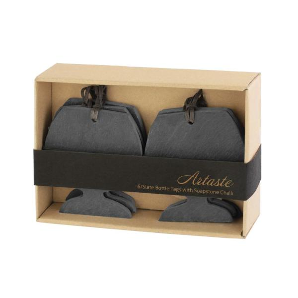 Artaste Slate 3.25 by 3 in. Wine Tag and Soapstone Chalk