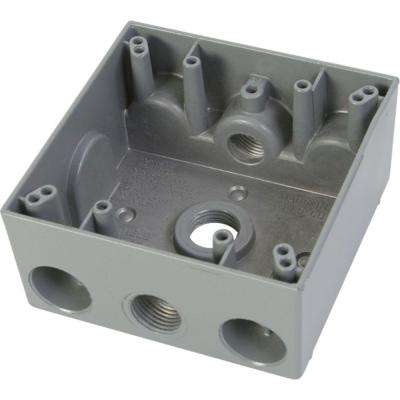 2 Gang Weatherproof Electrical Outlet Box with Three 1/2 in. Holes - Gray