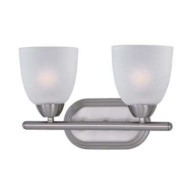 Axis 2-Light Satin Nickel Bath Light Vanity with Frosted Shade