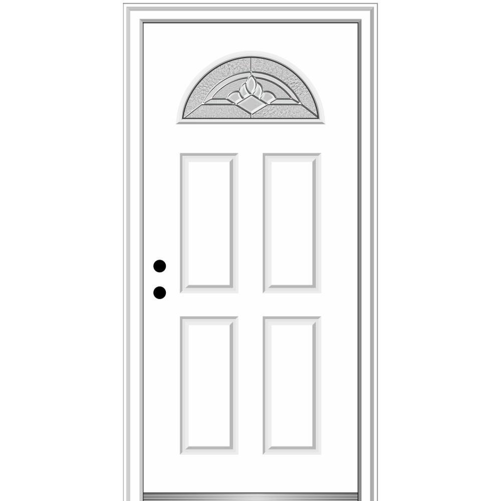 32 in. x 80 in. Grace Right-Hand Inswing Fan-Lite Decorative 4-Panel Primed Steel Prehung Front Door on 6-9/16 in. Frame