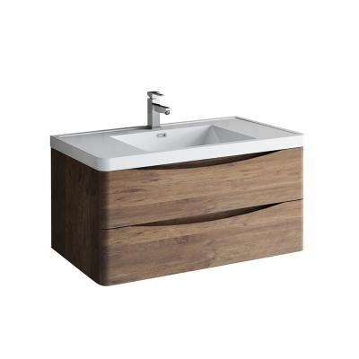 Tuscany 40 in. Modern Wall Hung Vanity in Rosewood with Vanity Top in White with White Basin