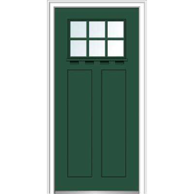 36 in.x80 in. Low-E Glass Right-Hand Craftsman 2-Panel 6-Lite Clear Painted Fiberglass Smooth Prehung FrontDoor w/ Shelf