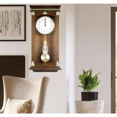 11 in. W x 3.5 in. D x 23.8 in. H Traditional Wood Wall Mounted Pendulum Clock Walnut Finish
