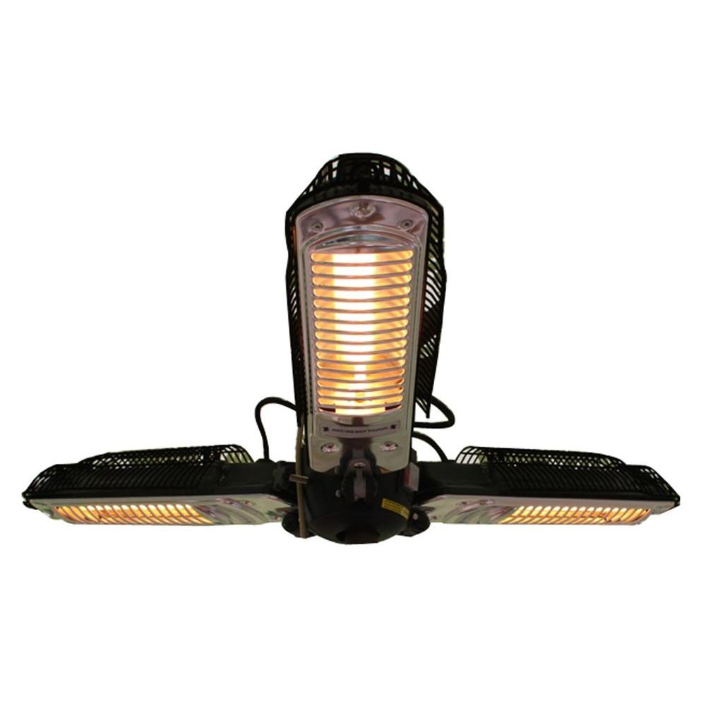 Fire Sense 1 500 Watt Black Umbrella Mounted Halogen Electric Patio Heater 60404 The Home Depot