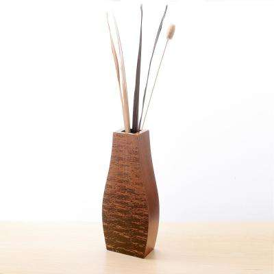 24 in. Mango Wood Bottle Floor Vase with Rustic Scraped Bark