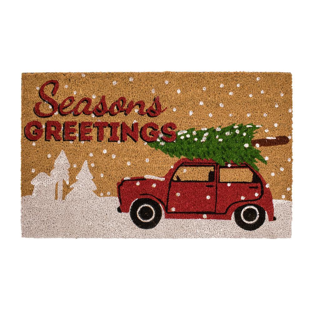 Snow and Truck Tree 18 in. x 30 in. Coir Door Mat