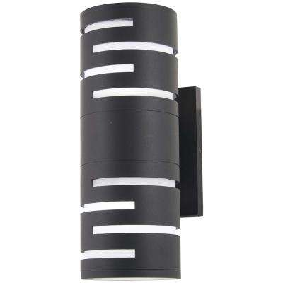 Groovin 40-Watt Equivalence Black Outdoor Integrated LED Wall Mount Sconce