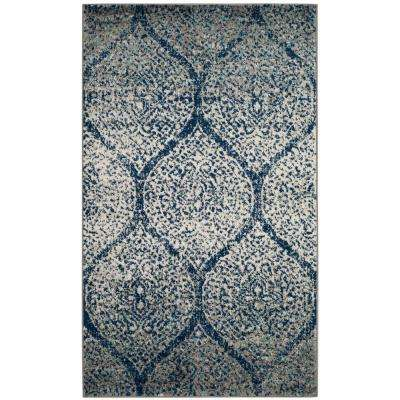 Madison Navy/Silver 3 ft. x 5 ft. Area Rug