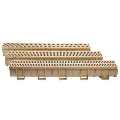 Easy Drain Series 5.4 in. W x 5.4 in. D x 39.4 in. L Trench and Channel Drain Kit in Sandstone (3-Pack)