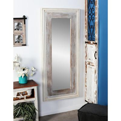 Litton Lane Rectangular Rustic White Door/Wall Mirror