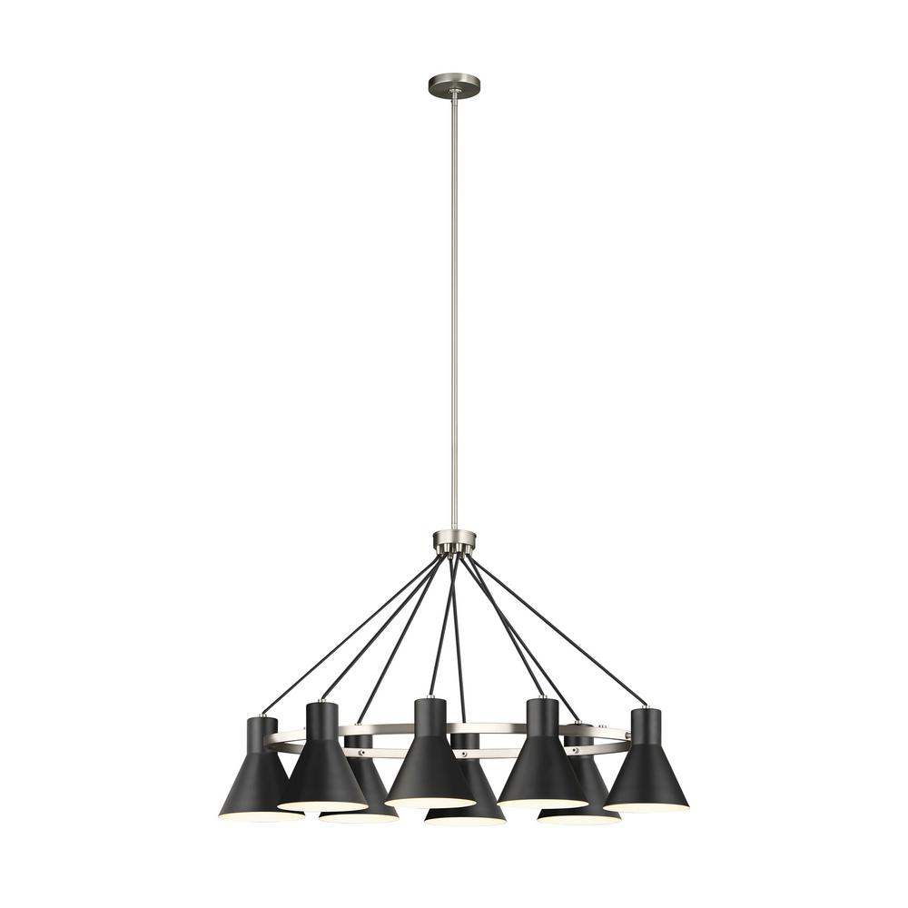 Sea Gull Lighting Towner 8-Light Black Shade with Brushed Nickel Accents Chandelier was $516.9 now $89.0 (83.0% off)
