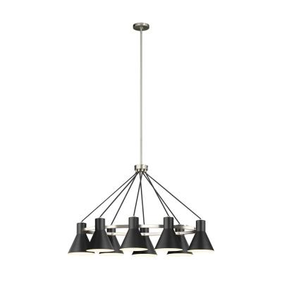 Towner 8-Light Black Shade with Brushed Nickel Accents Chandelier