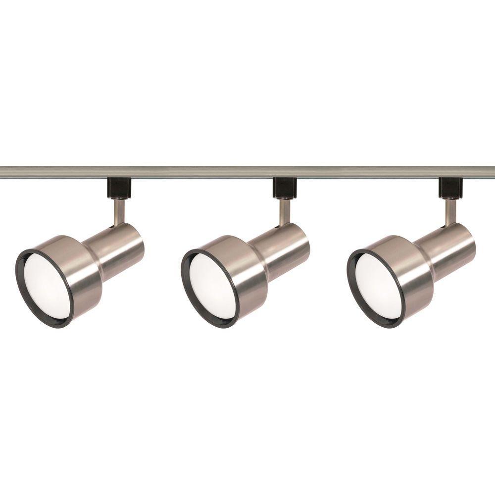 Glomar 3-Light R30 Brushed Nickel Step Cylinder Track Lighting Kit