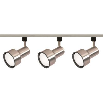 3-Light R30 Brushed Nickel Step Cylinder Track Lighting Kit