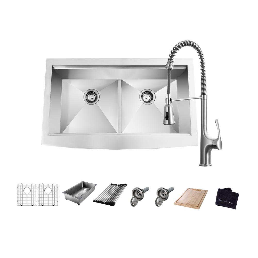 GlacierBay Glacier Bay All-in-One Apron-Front Farmhouse Stainless Steel 33 in. 50/50 Double Bowl Workstation Sink with Faucet and Accessories, Brushed Stainless