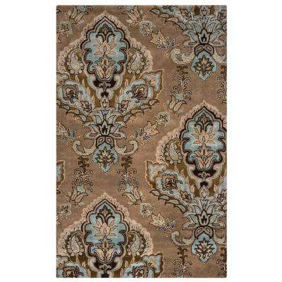 Volare Tan Medallion Hand Tufted Wool 5 ft. x 8 ft. Area Rug