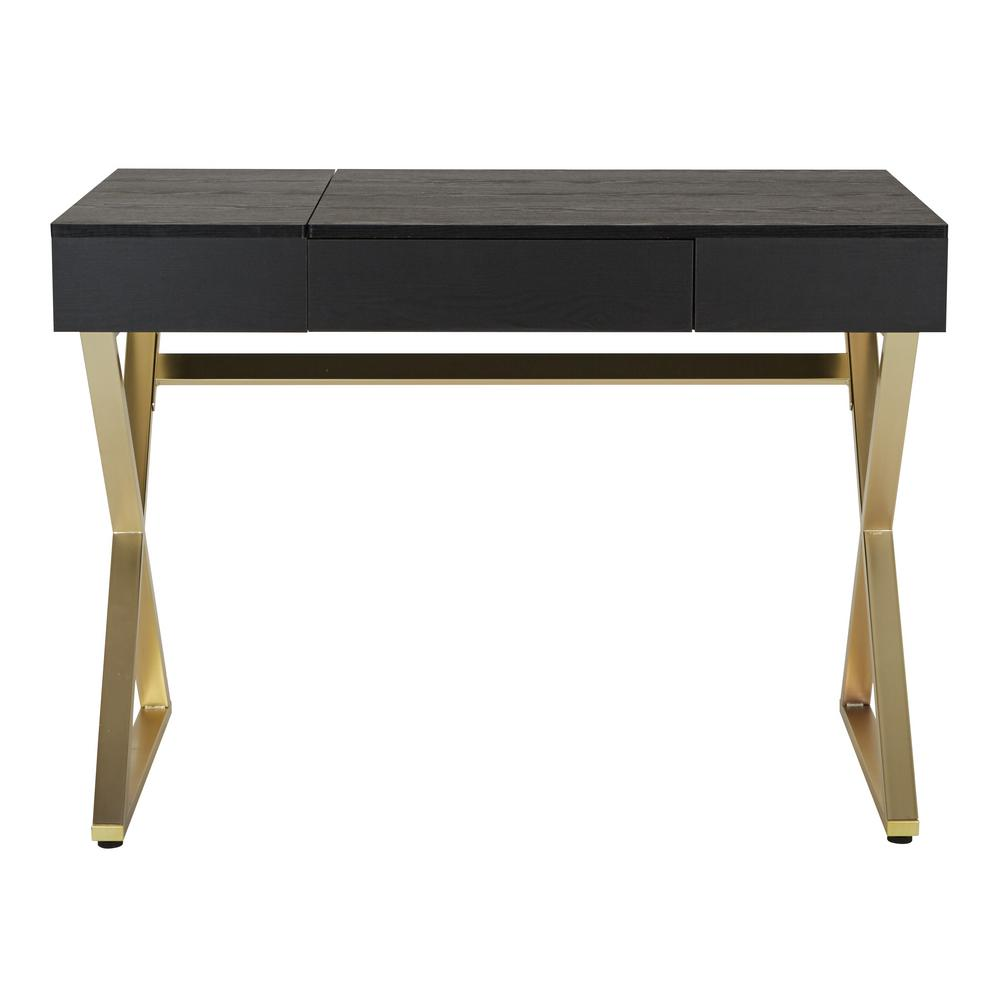 OSP Home Furnishings 42 in. Rectangular Black/Matte Gold 1 Drawer Writing Desk with Built-In Storage OSP Home Furnishings 42 in. Rectangular Black/Matte Gold 1 Drawer Writing Desk with Built-In Storage.