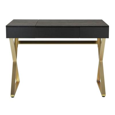 42 in. Rectangular Black/Matte Gold 1 Drawer Writing Desk with Built-In Storage