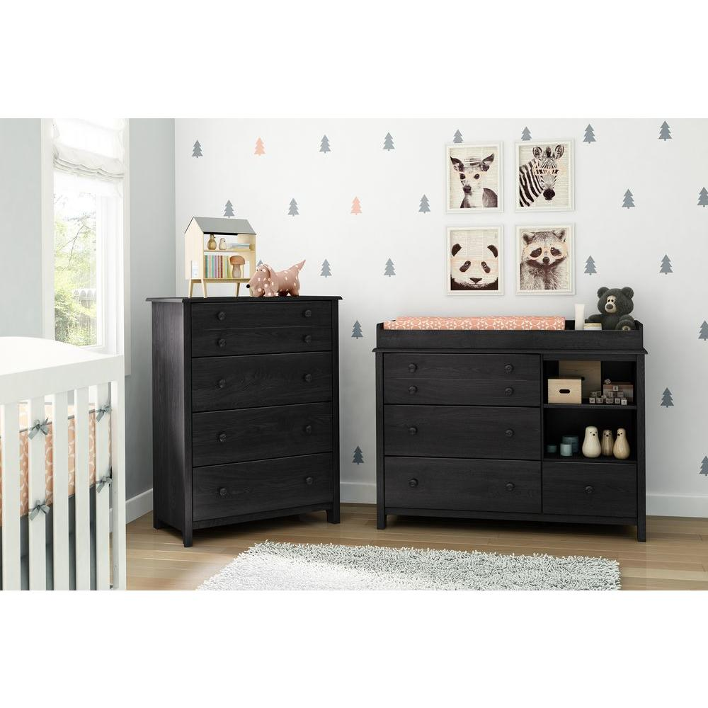 South Shore Little Smileys 4 Drawer Gray Oak Changing Table