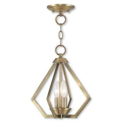 Prism 2-Light Antique Brass Convertible Chandelier