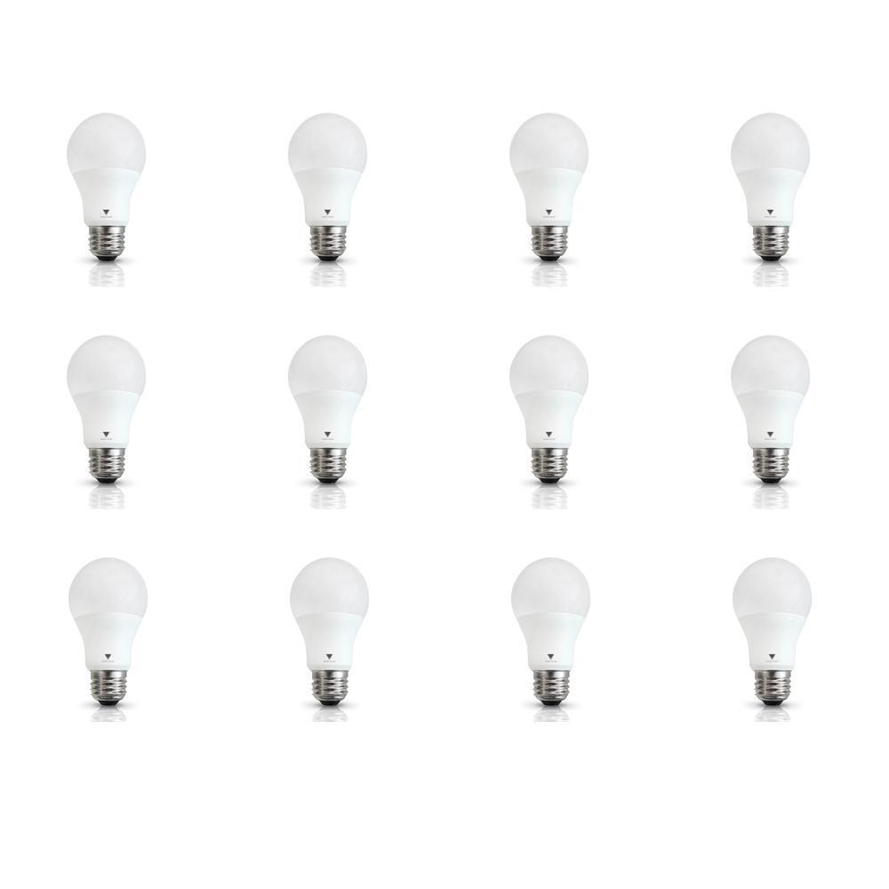 60-Watt Equivalent A19 E26 Base LED Light Bulb Deco White (12-Pack)