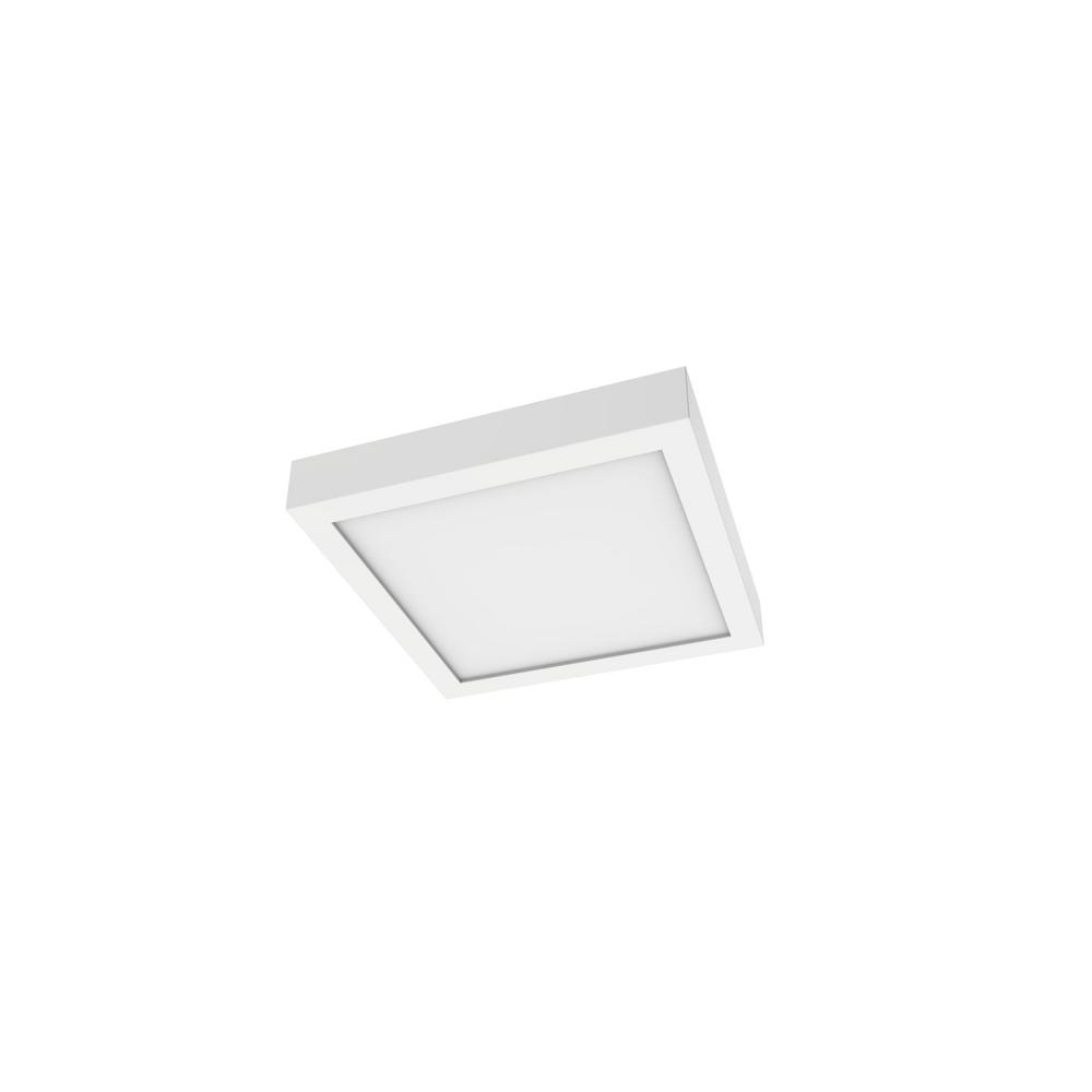 Integrated Led Flush Mount Lights Lighting The Home Depot Residential Electrical Wiring Diagram 12x24 Panel Light 7 In Square 3000k 700 Lumen 14 Watt Architectural White