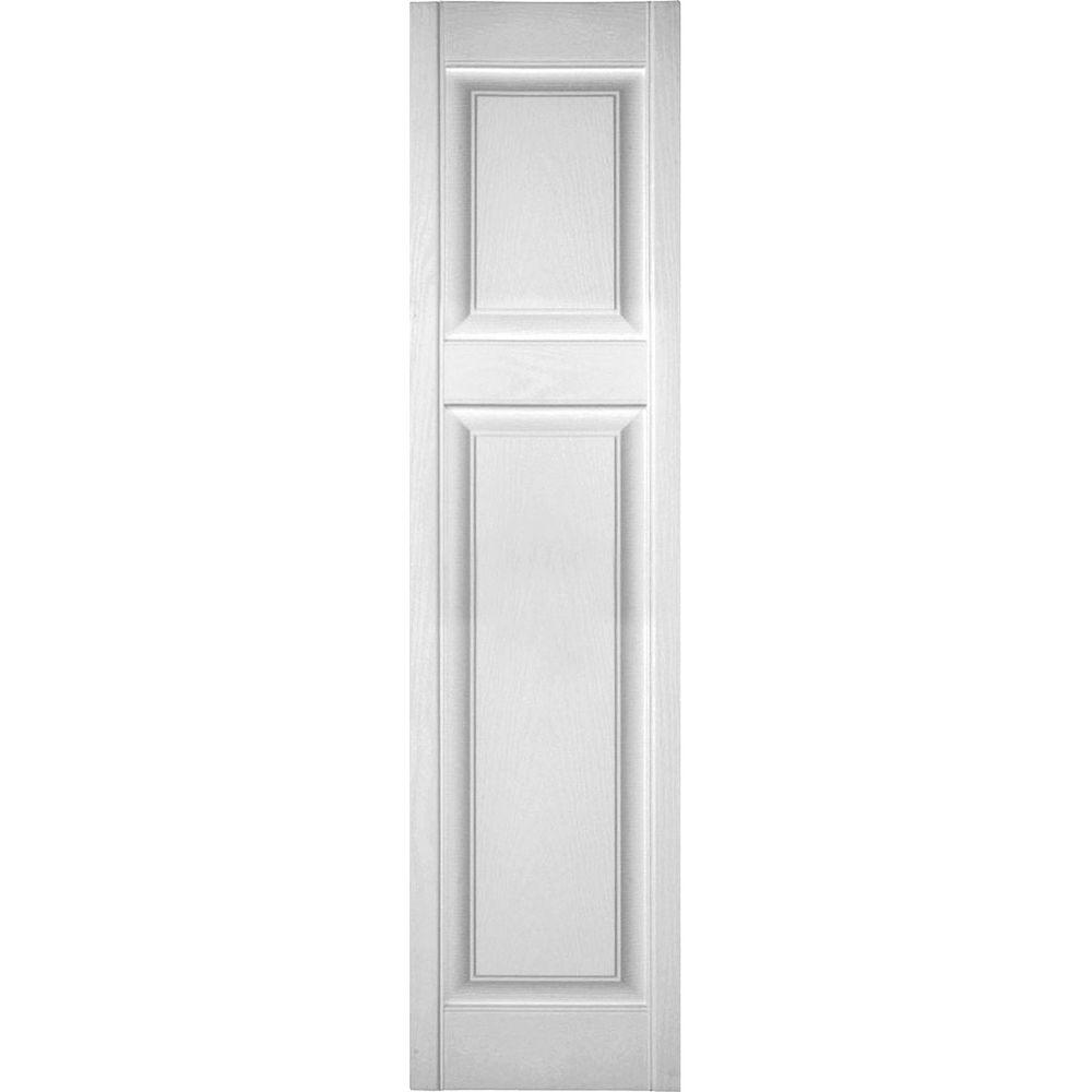 Ekena Millwork 18 in. x 44 in. Lifetime Vinyl Custom Offset Raised Panel Shutters Pair Bright White