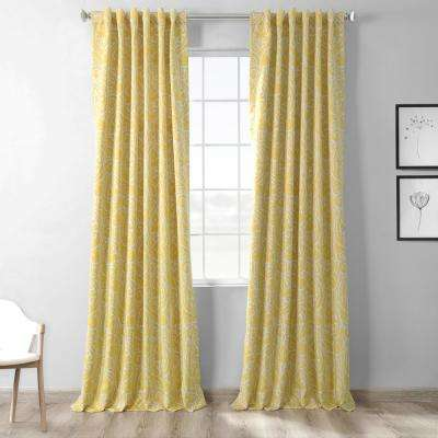 Semi-Opaque Abstract Misted Yellow Blackout Curtain - 50 in. W x 120 in. L (Panel)