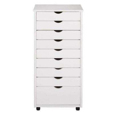 Stanton 8+1-Drawers Wide Storage Cart in White