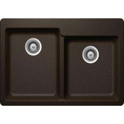 Elkay by Schock Drop-In/Undermount Quartz Composite 33 in. Square Offset Double Bowl Kitchen Sink in Chestnut