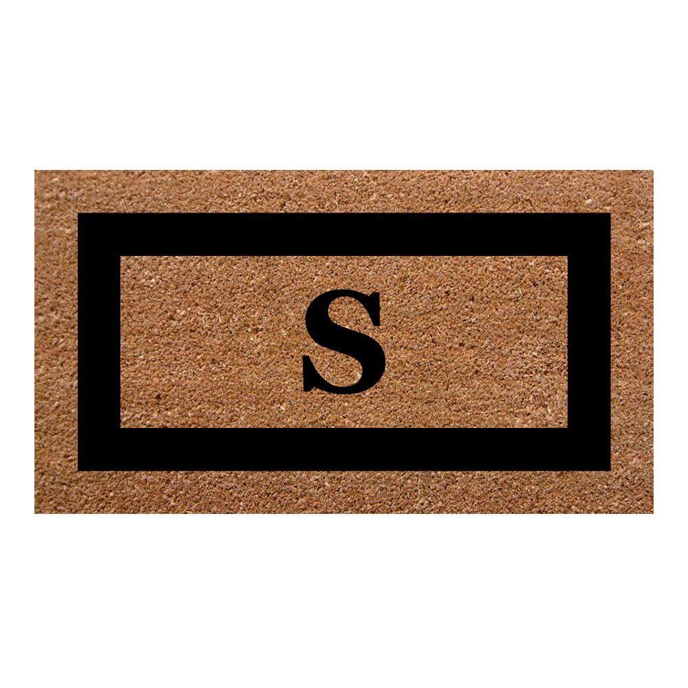 Single Picture Frame Black 20 in. x 36 in. SuperScraper Monogrammed S Door Mat