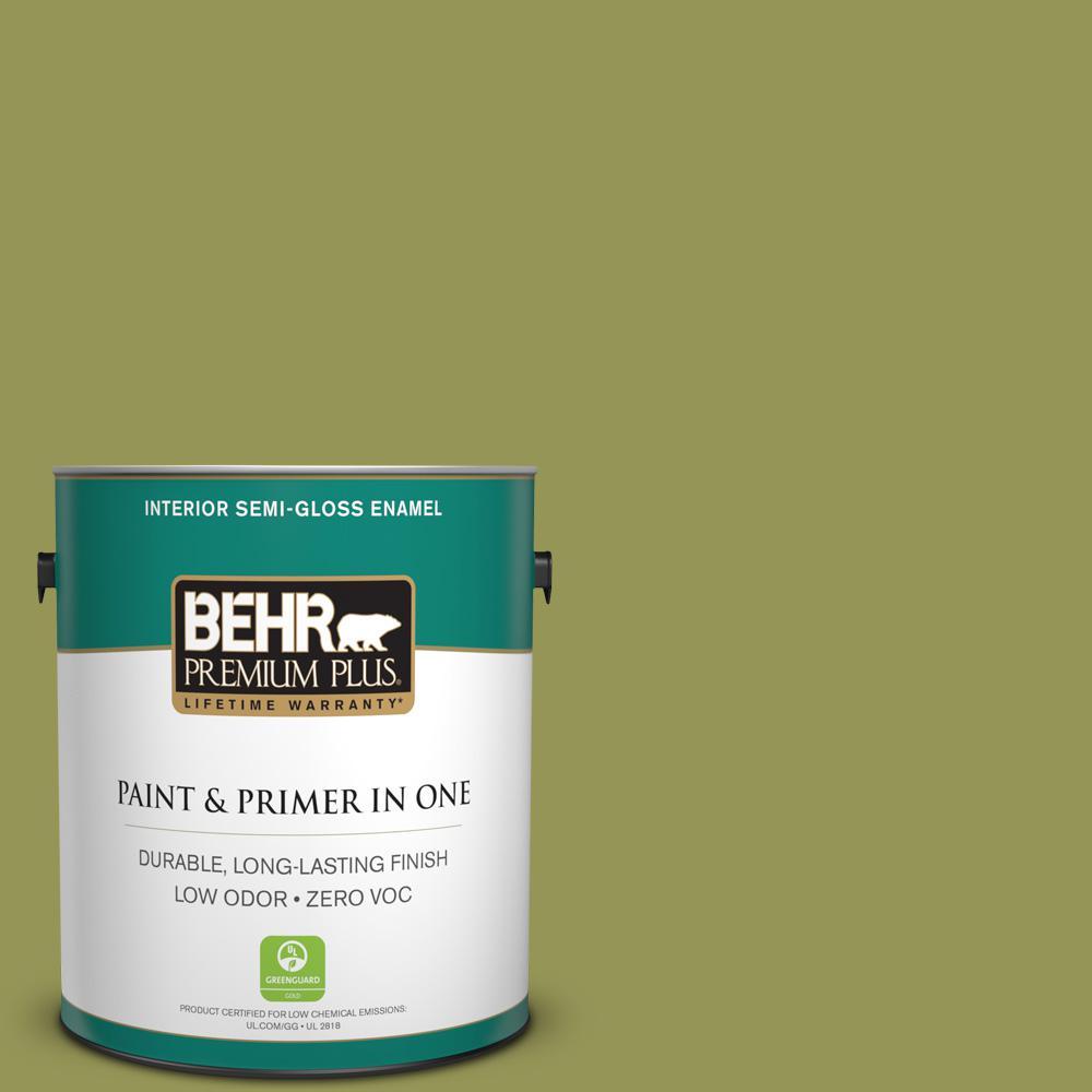 BEHR Premium Plus 1-gal. #400D-6 Grape Leaves Zero VOC Semi-Gloss Enamel Interior Paint