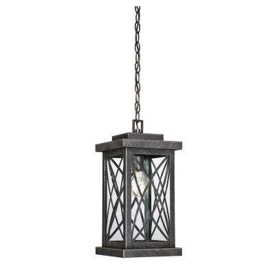 1-Light Brushed Bronze Outdoor Hanging Lantern with Clear Glass