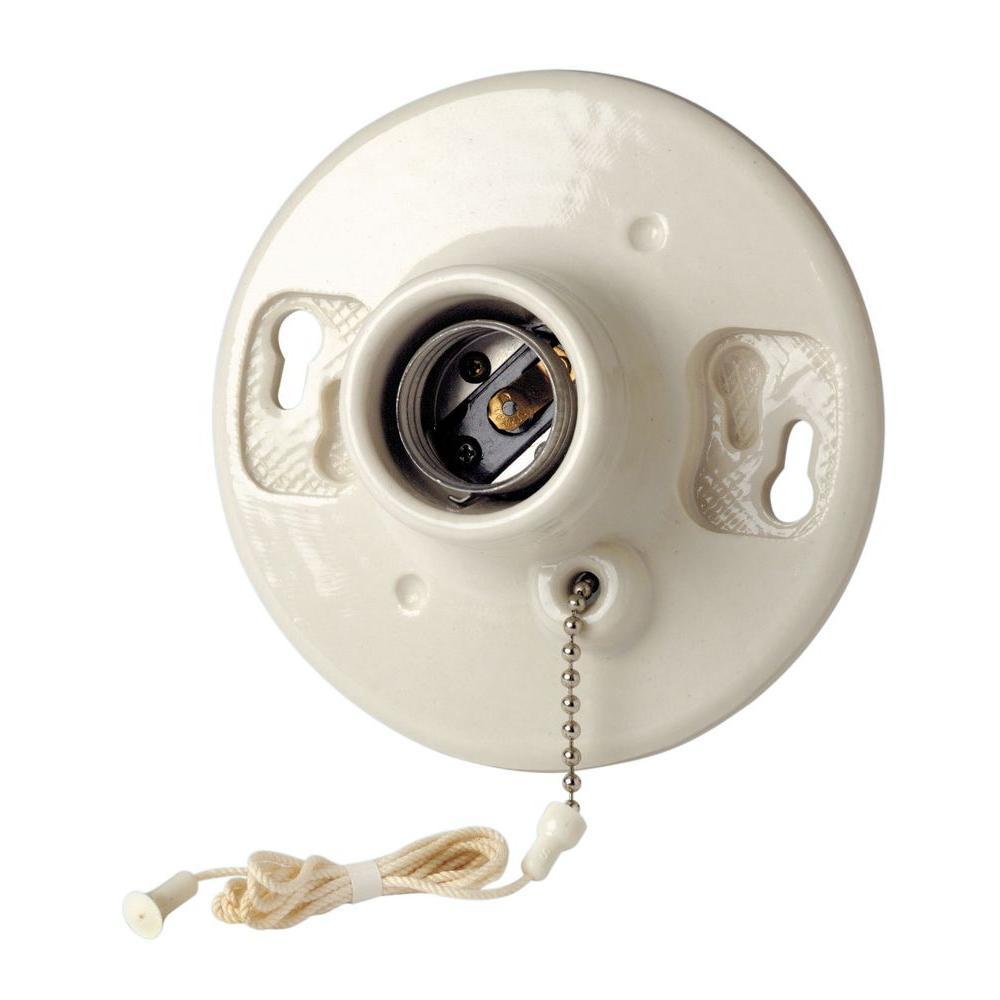 Pull Chain Ceiling Lampholder, White