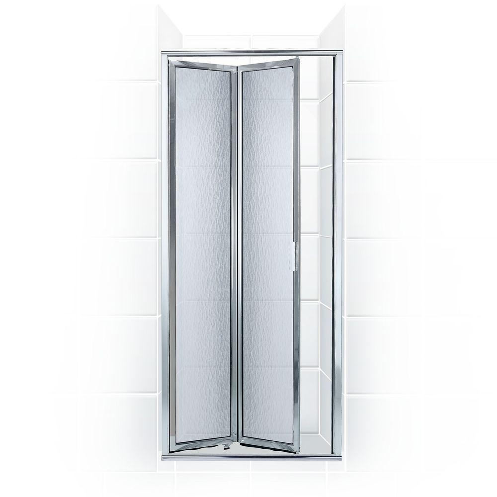 Coastal Shower Doors Paragon Series 24 in. x 71 in. Framed Bi-Fold Double Hinged Shower Door in Chrome and Obscure Glass
