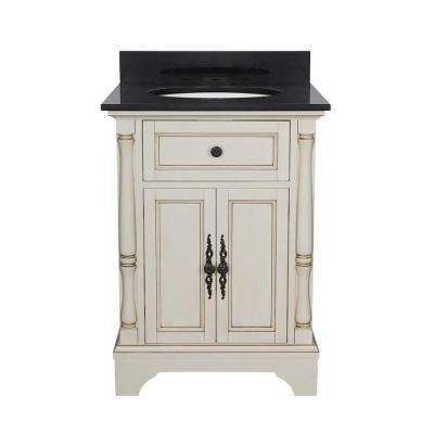 Albertine 25 in. W Bath Vanity in Creamy White with Granite Vanity Top in Black