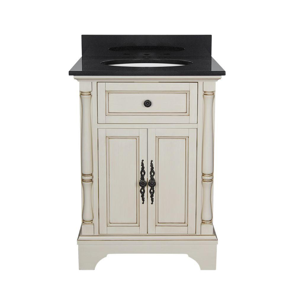 Albertine 25 in. W Bath Vanity in Creamy White with Granite