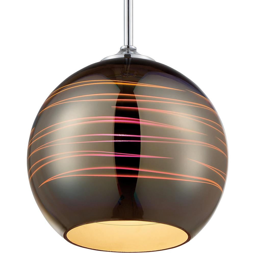 Rogue Decor Spacey 1-Light 9.5 in. Polished Chrome Globe Mini Pendant