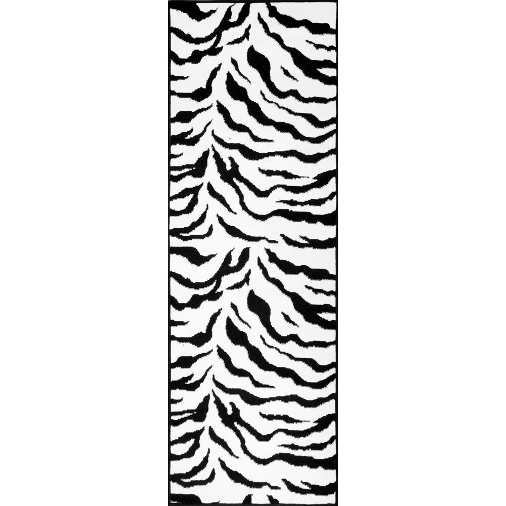 NuLOOM Zebra Print Black And White 3 Ft. X 8 Ft. Runner