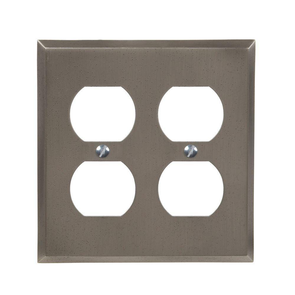 Manhattan 2 Duplex Wall Plate - Gun Metal Gray