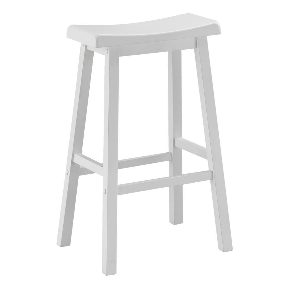 White Saddle Seat Barstool