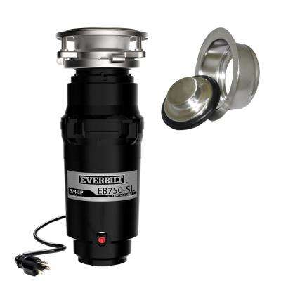 3/4 HP Slim Continuous Feed Garbage Disposal with Brushed Nickel Sink Flange and Attached Power Cord