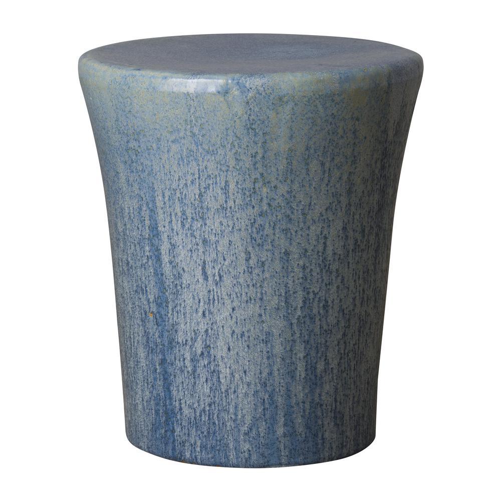 Round Pearl Azure Ceramic Garden Stool