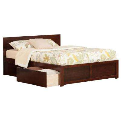 Orlando Walnut Queen Platform Bed with Flat Panel Foot Board and 2-Urban Bed Drawers