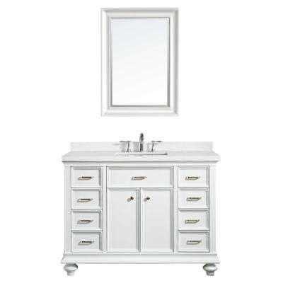 Charlotte 48 in. W x 22 in. D x 36 in. H Vanity in White with Quartz Vanity Top in White with White Basin and Mirror
