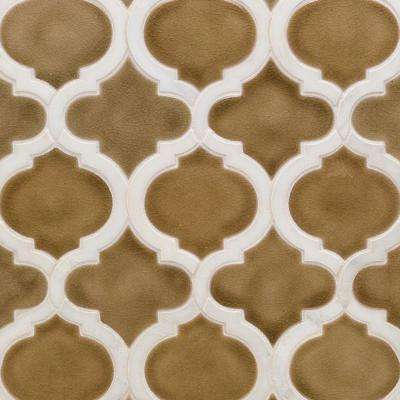 Oracle Arabesque Sea Wind 9-7/8 in. x 11-3/4 in. x 10mm Glazed Ceramic Mosaic Tile
