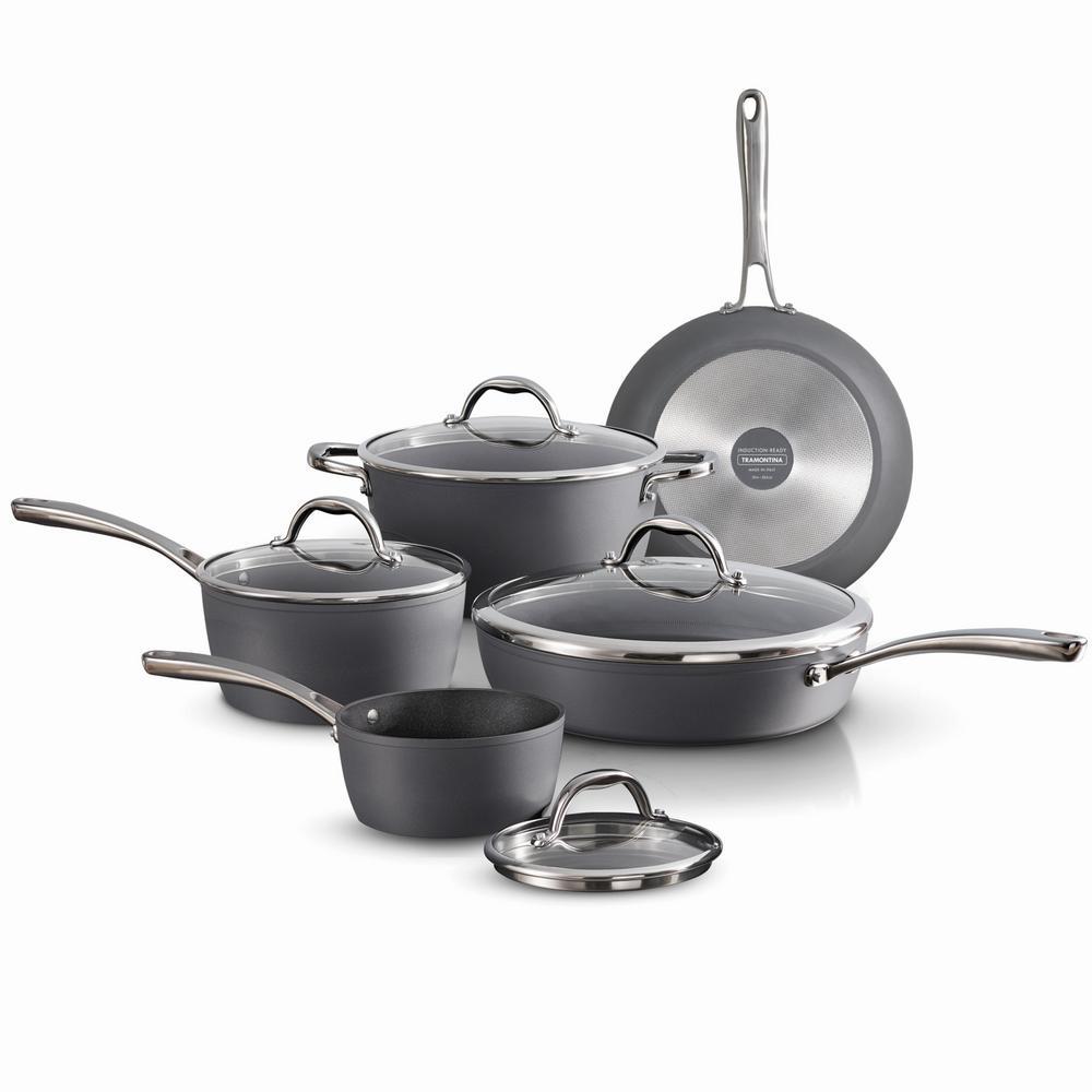 Gourmet 9-Piece Slate Gray Induction Aluminum Cookware Set